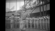 The man twirling baton with Air Force band playing at Brussels World's Fair Stock Footage