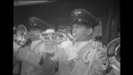 Air Force band blowing trumpet at Brussels World's Fair Stock Footage