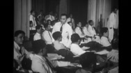 Congressmen sitting and talking in congress building Stock Footage