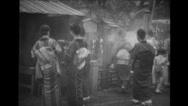 Japanese people attending religious ceremonies Stock Footage