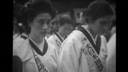 Japanese people bowing during the religious ceremony Stock Footage