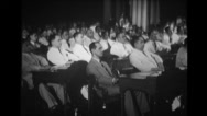 Congressmen applauding at the speech given by Manuel Luis Quezon Stock Footage