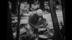 Man peeling and processing hemp - free stock footage