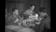 Soldiers having breakfast in canteen at Hardy Barracks Stock Footage