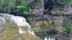 Tennessee Cummins Falls Waterfall Above Cinematic HD Stock Footage