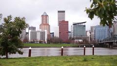 Portland Oregon skyline slider - 3 clips Stock Footage