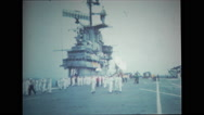 Sailors walking on the flight deck of USS Wasp Stock Footage