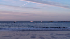 Stock Video Footage of Boats off of the coast of Perros Guirec France