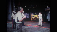 Television announcers and cameramen addressing the sailors on USS Wasp Stock Footage