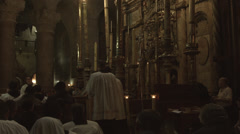 4K UHD Mass at the Church of the Holy Sepulchre before easter Stock Footage