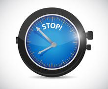 Watch and stop sign illustration design Stock Illustration