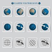 Earth vector icon set.credit by nasa Stock Illustration