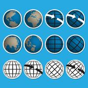 Earth vector icon set.credit by nasa Stock Illustration