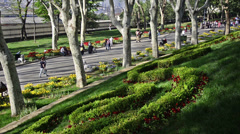 Gulhane Park, Istanbul, people are walking in the park in a sunny and nice day. Stock Footage