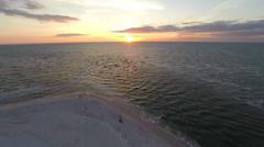 Sunset over The Gulf of Mexico, 2.7K view from the air - stock footage