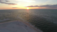 Stock Video Footage of Sunset over The Gulf of Mexico, 2.7K view from the air