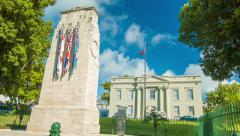 Cabinet Gardens and Building in Hamilton, Bermuda - stock footage