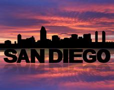 San diego skyline reflected with text and sunset illustration Piirros