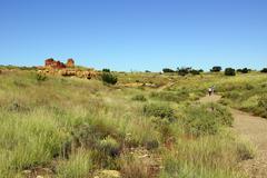 Ruins of houses of the  lomaki pueblo Stock Photos