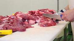 The butcher cuts fresh beef meat - stock footage