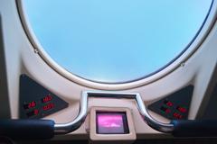 Window in submarine - stock photo