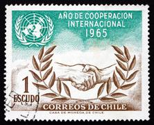 Postage stamp Chile 1966 UN and ICY Emblems - stock photo