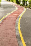 Marked bicycle path - stock photo