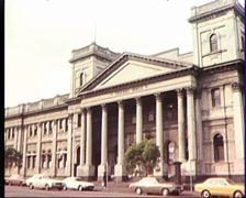 Zoom out to reveal Melbourne Trades Hall Building (1982) Stock Footage