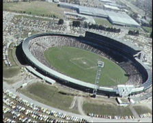 Waverley Park Football Oval (aerial shots) early 80's, Melbourne Australia Stock Footage