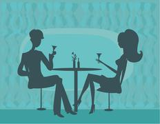 young couple silhouette flirt and drink champagne in restaurant - stock illustration
