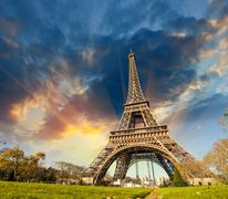 Wonderful view of Eiffel Tower in Paris. La Tour Eiffel with sky - stock photo