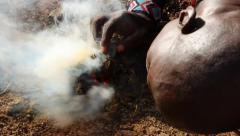 Masai Man Making Fire. Kenya, Africa. Full HD Stock Footage