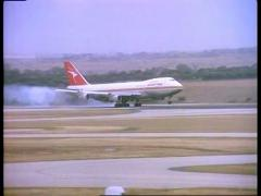 Qantas Plane Lands Melbourne Airport 1983 (35mm Film) Stock Footage