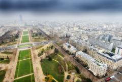 Great aerial view of Eiffel Tower surroundings - Paris Stock Photos