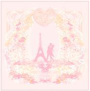 Romantic couple silhouette in paris kissing near the eiffel tower retro card Stock Illustration