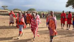 Masai Women Dancing. Masai Welcome Dance Stock Footage