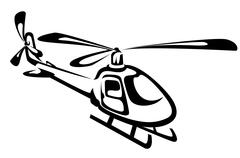 Flying helicopter Stock Illustration