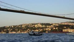 Bosporus, Bosphorus, ortakoy, Istanbul, marine traffic under of Bosporus bridge Stock Footage