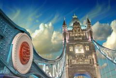 London. Powerful structure of magnificent Tower Bridge at sunset Stock Photos