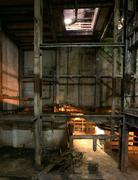 Old creepy dark decaying dirty factory Stock Photos