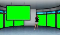 News 035 TV Studio Set - Virtual Green Screen Background PSD PSD Template