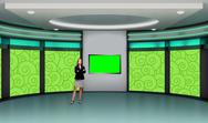 Entertainment 033 TV Studio Set - Virtual Green Screen Background PSD PSD Template