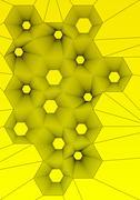 abstract hexagonal wallpaper on yellow background - stock illustration