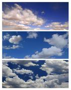 Multiple Cloudscapes For Editing Landscapes or Banners Stock Photos