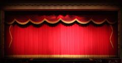 Bright Stage Theater Drape Background  With Yellow Vintage Trim - stock photo