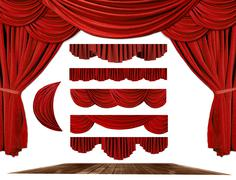 Theater STage Drape Elements to Create Your Own Background - stock photo