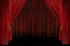 Horizontal Stage Drapes Open For Presentation Stock Photos