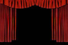 Red Horozontal Draped Theatre Curtains - stock photo