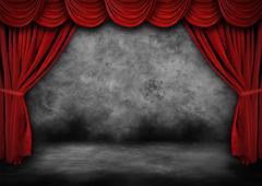 Painted Grunge Theater Stage With Red Velvet Drapes Stock Photos