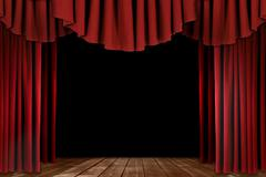 Theater Drapes With Wood Floor - stock photo